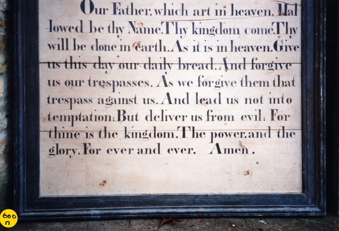 Westcote Barton church boards - Lord's prayer.