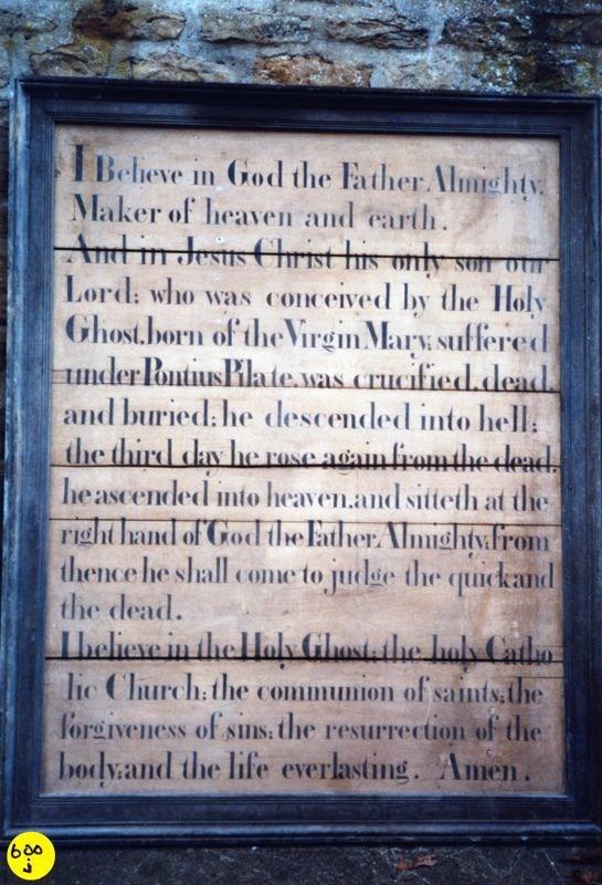 Westcote Barton church boards - The Creed.