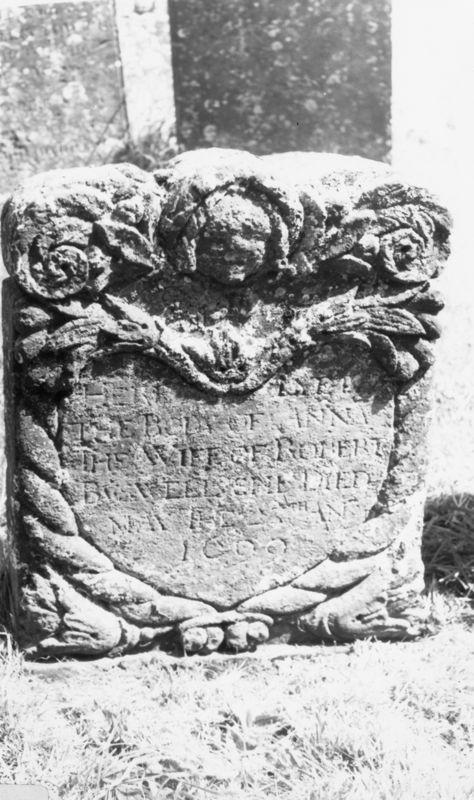 Westcote Barton church boards - gravestone.
