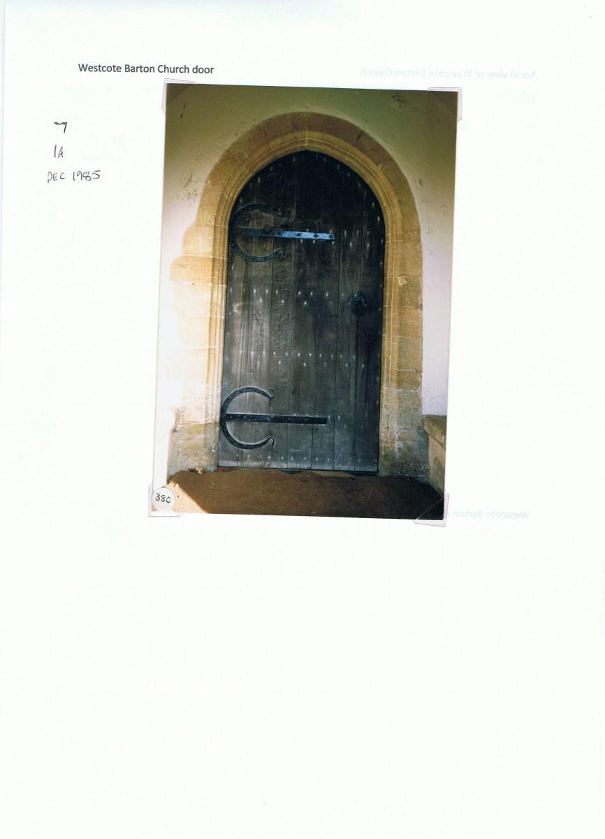December 1985 Westcote Barton Church. Church door.