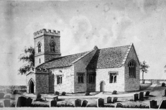 1852 Drawing by Reverend Edmund L Locker, Rector. Note the roof line is different from the 1823 drawings and the Marshall post-restoration view.