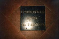 Thomas Belcher's memorial stone. It is set in the floor of the chancel.