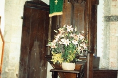 1987 Pulpit and door to the staircase. This used to lead to the loft where candles were kept alight in front of the rood (the Crucifix) above the rood screen.