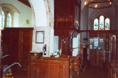 August 1998 Flower festival with history group boards. Note: organ no longer screened by panelling.