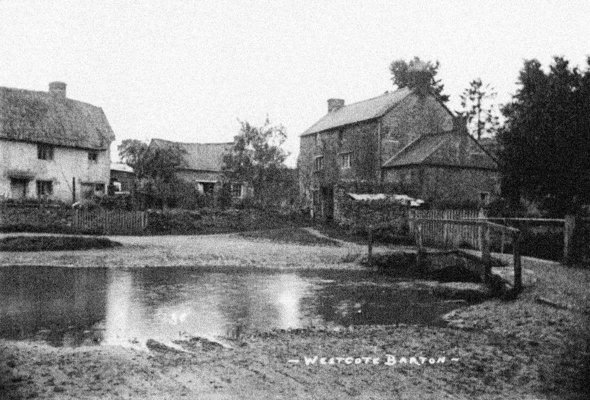 1920s Fox Lane ford looking south, showing Old Mill Cottage (no. 14) and Brook House (No. 12)