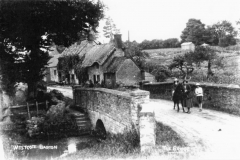 Around 1930. Enstone Road bridge. Thought to be Ivy Shrimpton with John Anthony (son of Dorothy L. Sayers) and Isobel. Showing Burnside and Hennock House.